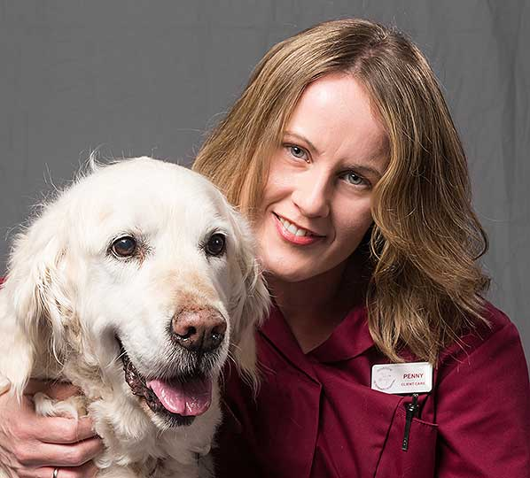 Penny Capewell, client care at Dovecote veterinary Hospital